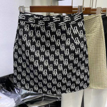 skirt Spring 2021 S,M,L,XL Letters on a black background Short skirt Versatile High waist A-line skirt letter Type A 71% (inclusive) - 80% (inclusive) Zipper, stitching, printing