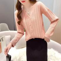 Wool knitwear Spring 2021 L,XL,M,S Apricot, pink Long sleeves singleton  Cardigan other 31% (inclusive) - 50% (inclusive) Regular routine commute easy V-neck routine Solid color Single breasted Korean version 9979 single top Xi can
