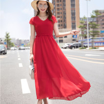 Dress Summer 2021 Black, red XL,2XL,3XL,4XL,5XL,6XL longuette singleton  Short sleeve commute V-neck High waist Solid color Big swing other Others 25-29 years old Type A Korean version 81% (inclusive) - 90% (inclusive) Chiffon polyester fiber