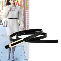 Belt / belt / chain Double skin leather female belt Versatile Single loop Middle age, youth, youth Smooth button Geometric pattern Glossy surface 1cm alloy alone A thousand waist and a hundred belts