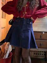 skirt Spring 2021 XS,S,M,L Dark blue spot Short skirt Sweet High waist A-line skirt Solid color Type A 18-24 years old Y0074 30% and below Denim solar system