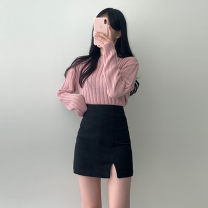 skirt Winter of 2019 XS,S,M,L Black, blue, white, brown Short skirt Versatile High waist skirt Solid color Type H 18-24 years old brocade other