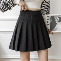 skirt Spring 2021 S,M,L,XL Apricot, dark grey, black, coffee Short skirt commute High waist Pleated skirt Solid color Type A 18-24 years old yTefPAfm zipper Korean version