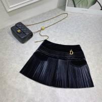 skirt Spring 2021 S,M,L black Short skirt commute High waist Pleated skirt Solid color Type A More than 95% polyester fiber fold