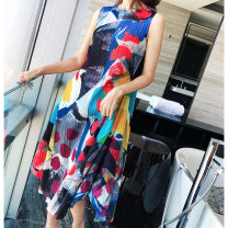 Dress Summer 2020 Dress, lake blue coat Average size Mid length dress singleton  Sleeveless Sweet Crew neck High waist Abstract pattern Big swing Others Type A Pleated, stitched, printed Countryside