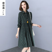 Dress Spring 2021 M L XL XXL XXXL Mid length dress singleton  Long sleeves commute square neck Loose waist Decor Single breasted Big swing routine Hanging neck style 40-49 years old Type A Attachment to Nai Retro More than 95% cotton Cotton 100% Pure e-commerce (online only)