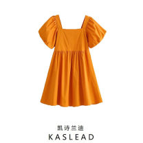 Dress Summer 2021 orange S,M,L Middle-skirt Short sleeve street square neck Solid color Socket puff sleeve Europe and America