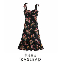Dress Summer 2020 black S,M,L Mid length dress street Broken flowers Socket camisole Europe and America