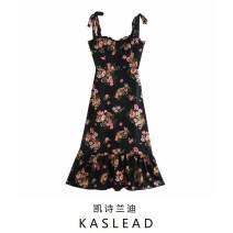 Dress Summer 2020 black S,M,L Mid length dress street Broken flowers Socket camisole Europe and America