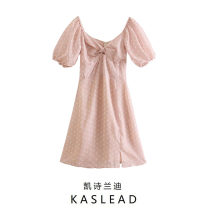 Dress Summer 2021 Pink XS,S,M,L Middle-skirt Short sleeve street square neck Dot Socket puff sleeve printing Europe and America