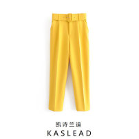 Casual pants Yellow, black, camel, purple, red, green, light blue, light yellow, pink, lavender, orange, beige XS,S,M,L Summer of 2019 trousers High waist street other Europe and America