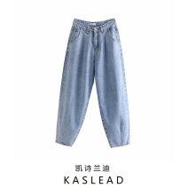 Jeans Summer of 2019 wathet XS,S,M,L Ninth pants High waist light colour