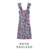 Dress Summer 2021 Black safflower, pink flower, safflower S,M,L Mid length dress Sleeveless street Decor Socket printing Europe and America