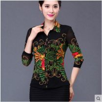 shirt Phoenix, yellow dot, black flower S / 2, M / 3, L / 4, XL / 5, XXL / 6, XXL / 7, XXXXL / 8 Spring of 2018 nylon 96% and above Short sleeve Versatile Regular Polo collar Single row multi button routine Broken flowers 40-49 years old Self cultivation Sound rain bamboo