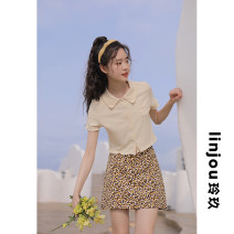 skirt Summer 2021 XS,S,M,L Safflower, yellow flower Short skirt Versatile High waist A-line skirt Decor Type A 18-24 years old 91% (inclusive) - 95% (inclusive) other linjou polyester fiber zipper