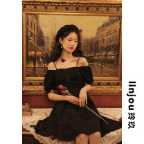 Dress Summer 2021 black XS,S,M,L Mid length dress singleton  Short sleeve Sweet One word collar High waist Solid color Single breasted Big swing bishop sleeve Others 18-24 years old Type A linjou Bow, tuck, zipper More than 95% other polyester fiber