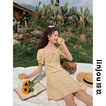Dress Summer 2021 Decor XS,S,M,L Mid length dress singleton  Short sleeve Sweet square neck High waist other zipper Big swing bishop sleeve Others 18-24 years old Type A linjou zipper More than 95% other polyester fiber