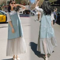 Dress Winter 2016 Light blue + white t-shirt-v42 S,M,L,XL,2XL,3XL,4XL longuette Two piece set Short sleeve straps Other / other Stitching, mesh, lace C618E8050 Denim PU
