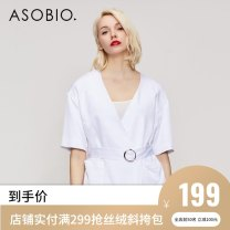 short coat Summer of 2018 155/80A/XS 160/84A/S 165/88A/M 170/92A/L Almond white / 110 Short sleeve routine Thin money singleton  Self cultivation routine tailored collar Frenulum Solid color 25-29 years old Asobio / pride 96% and above other Viscose (viscose) 100%