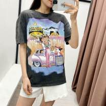 T-shirt Charcoal grey S,M,L Summer 2021 Short sleeve Crew neck Straight cylinder Regular routine commute cotton 96% and above 18-24 years old classic Solid color