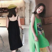 Dress Black, fruit green female Other / other 110cm,120cm,130cm,140cm,150cm,160cm Other 100% summer Korean version Skirt / vest cotton other M2057