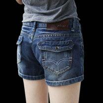 Jeans Spring 2020 Dark blue, light blue shorts High waist Wide legged trousers Thin money 18-24 years old Zipper, button Cotton denim Dark color 71% (inclusive) - 80% (inclusive)