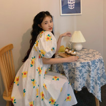 Dress Summer 2021 skirt Average size longuette singleton  elbow sleeve commute Crew neck Loose waist Broken flowers Socket other puff sleeve Others 18-24 years old Type A Korean version 30% and below other other