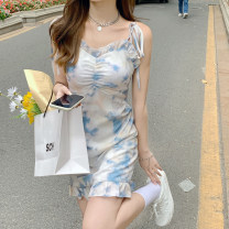 Dress Summer 2021 Short dress, suspender dress, long dress, single shirt S. M, average size Short skirt singleton  Short sleeve commute One word collar High waist other Socket Ruffle Skirt puff sleeve Others 18-24 years old Type A Korean version 30% and below other other