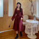 Dress Spring 2021 Black, maroon Average size Mid length dress singleton  Long sleeves commute square neck middle-waisted Solid color A-line skirt routine 18-24 years old Type A Korean version Bow, button More than 95% polyester fiber