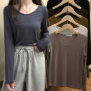 T-shirt Black, white, gray, coffee, olive green, khaki Average size Spring 2021 Long sleeves Crew neck Straight cylinder Regular routine commute Viscose 86% (inclusive) -95% (inclusive) 18-24 years old Korean version youth Solid color