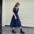 Dress Summer 2021 Navy, white, purple Average size longuette singleton  Short sleeve commute Doll Collar High waist Broken flowers Socket A-line skirt puff sleeve Others 18-24 years old Type A Retro bow 30% and below other other