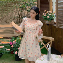 Dress Spring 2021 skirt S, M Middle-skirt singleton  Long sleeves commute square neck High waist Broken flowers other A-line skirt routine Others 18-24 years old Type A Korean version fold 30% and below other other