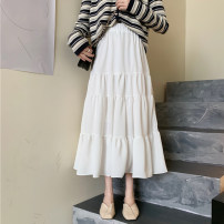 skirt Summer 2021 Average size White, black longuette commute High waist Cake skirt Solid color Type A 18-24 years old 30% and below other other Korean version