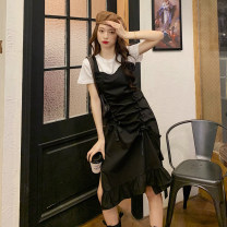 Dress Summer 2021 White, black Average size Middle-skirt singleton  Sleeveless commute High waist Solid color Ruffle Skirt other straps 18-24 years old Type A Korean version 30% and below