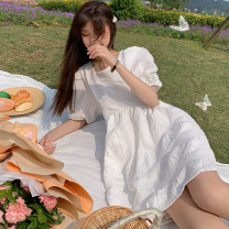 Dress Summer 2021 Long white dress , Short white dress S,M,L Mid length dress singleton  Short sleeve commute square neck middle-waisted Solid color A-line skirt puff sleeve 18-24 years old Type A Korean version