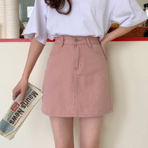 skirt Summer 2021 S,M,L,XL White, black, pink Short skirt commute High waist Denim skirt Solid color Type A 18-24 years old 30% and below other Korean version