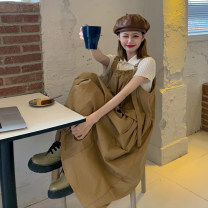 Dress Summer 2021 Khaki, black Average size longuette singleton  Sleeveless commute Loose waist Solid color Socket A-line skirt straps 18-24 years old Type A Retro 30% and below other other