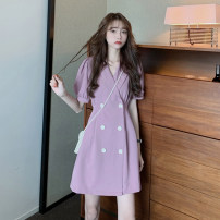 Dress Summer 2021 Purple, black S, M Middle-skirt singleton  Short sleeve commute tailored collar High waist Solid color double-breasted A-line skirt puff sleeve Others 18-24 years old Type A Retro 30% and below other other
