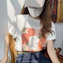 T-shirt White, orange Average size Summer 2021 Short sleeve Crew neck easy Regular routine commute other 30% and below 18-24 years old Korean version youth Plants and flowers printing