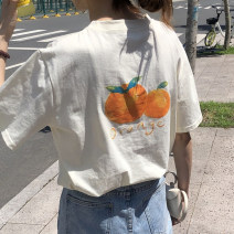 T-shirt White orange, apricot orange, white strawberry, apricot strawberry Average size Summer 2021 Short sleeve Crew neck easy Regular routine commute cotton 96% and above 18-24 years old Korean version youth Plants and flowers printing