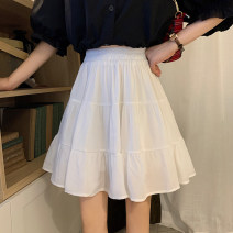 skirt Summer 2021 Average size White, black Short skirt commute High waist Pleated skirt Solid color Type A 18-24 years old 30% and below other Pleating Korean version