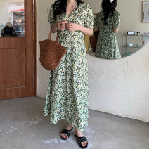 Dress Summer 2021 skirt Average size longuette singleton  Short sleeve commute V-neck High waist Broken flowers Socket A-line skirt puff sleeve Others 18-24 years old Type A Retro 30% and below other other
