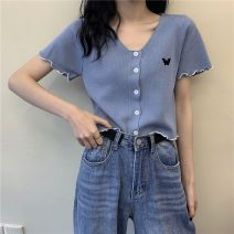 T-shirt White, purple, blue, black Average size Summer 2021 Short sleeve V-neck Straight cylinder have cash less than that is registered in the accounts routine commute cotton 96% and above 18-24 years old Korean version youth Solid color Buttons, embroidery