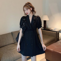 Dress Summer 2021 One piece dress Average size Short skirt singleton  Short sleeve commute tailored collar High waist Solid color double-breasted A-line skirt puff sleeve Others 18-24 years old Type A Korean version 30% and below other other