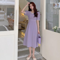 Dress Summer 2021 Purple, pink S, M longuette singleton  Short sleeve commute square neck High waist other Socket A-line skirt puff sleeve Others 18-24 years old Type A Korean version 30% and below other other