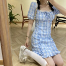 Dress Summer 2021 The sky is blue S, M Short skirt singleton  Short sleeve commute square neck High waist lattice Socket A-line skirt puff sleeve Others 18-24 years old Type A Korean version 30% and below other other