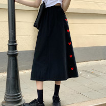 skirt Summer 2021 Average size Apricot, black longuette commute High waist A-line skirt Solid color Type A 18-24 years old 30% and below other other zipper Korean version