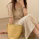 Dress Summer 2021 Apricot, pink, green Average size longuette singleton  Short sleeve commute square neck High waist Broken flowers Socket A-line skirt puff sleeve Others 18-24 years old Type A Korean version 30% and below other polyester fiber