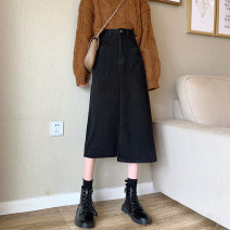skirt Spring 2021 S,M,L,XL Dark blue, black Mid length dress commute High waist A-line skirt Solid color Type A 18-24 years old Pocket, zipper Korean version