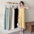 Dress Summer 2021 Apricot, light green, yellow, black Average size longuette singleton  Sleeveless commute Loose waist Solid color Socket A-line skirt camisole 18-24 years old Type A Korean version backless 30% and below other other